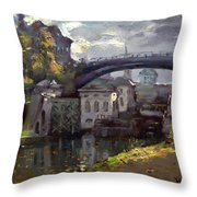 Storm Aproach At Lockport Locks Throw Pillow