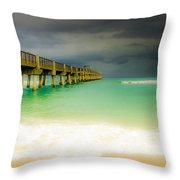 Storm Arrives At The Pier Throw Pillow