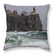 Storm At Split Rock Lighthouse Throw Pillow