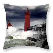 Storm At The Grand Haven Lighthouse Throw Pillow