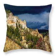 Storm Brewing Over Yellowstone Throw Pillow