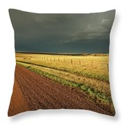 Storm Clouds Along A Saskatchewan Country Road Throw Pillow
