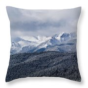 Storm Clouds Receding And Fresh Snow On Pikes Peak Throw Pillow