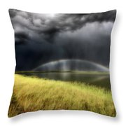 Storm Clouds And Rainbow Over Chaplin Lake Marshes Throw Pillow