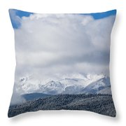 Storm Clouds And Snow On Pikes Peak Throw Pillow