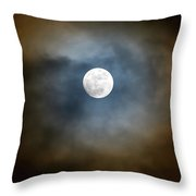 Storm Clouds Breaking For The Full Moon Throw Pillow