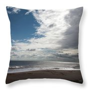 Storm Clouds Clearing The Beach With Wind Farm In The Background Skegness Lincolnshire England Throw Pillow