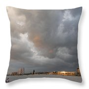 Storm Clouds On The Beach Throw Pillow