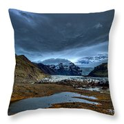 Storm Clouds Over A Glacier - Iceland Throw Pillow