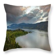 Storm Clouds Over Hood River Throw Pillow