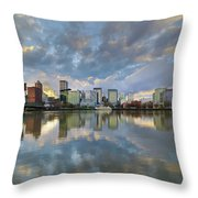 Storm Clouds Over Portland Skyline During Sunset Throw Pillow