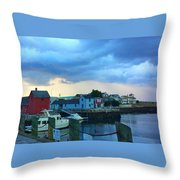 Storm Clouds Over Rockport Harbor Throw Pillow