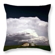Storm Clouds Over Saskatchewan Granaries Throw Pillow