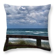 Storm Clouds Over The Beach Throw Pillow