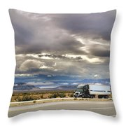 Storm Clouds Over The Highway Throw Pillow