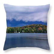 Storm Clouds Over The Lake Of Bays Throw Pillow