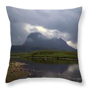 Storm Clouds Passing Across Suilven  And Fion Loch Near Ullapool Ross And Cromarty Scotland Throw Pillow