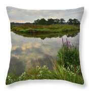 Storm Clouds Reflect In The Nippersink Throw Pillow