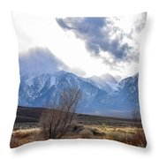 Storm Descending From The Sierras Throw Pillow