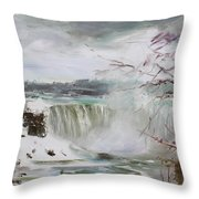 Storm In Niagara Falls  Throw Pillow