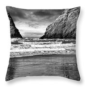 Storm On The Rocks Throw Pillow