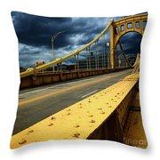 Storm Over Bridge Throw Pillow