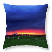 Storm Over Farm Country Throw Pillow