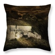 Storm Over Old Country House Throw Pillow