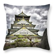Storm Over Osaka Castle Throw Pillow