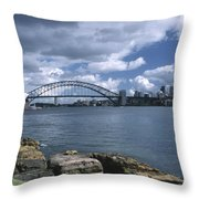 Storm Over Sydney Harbor Throw Pillow