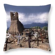 Storm Over Taos Graveyard Throw Pillow