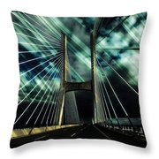 Storm Over The Bridge  Throw Pillow