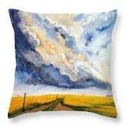 Storm Over The Country Road Throw Pillow