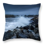 Storm Over The Jetty 1 Throw Pillow