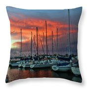 Storm Over The Newport Harbor Throw Pillow