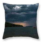 Storm Schooner Throw Pillow