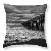 Storm Waves Breaking On The Shore Throw Pillow