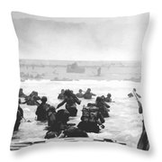 Storming The Beach On D-day  Throw Pillow