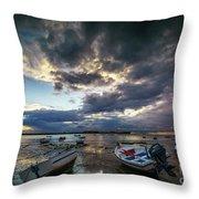 Storms At Dusk In La Caleta Cadiz Spain Throw Pillow