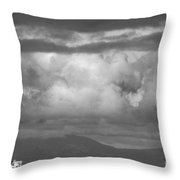 Storms Over The Cargo Ship - Black And White Throw Pillow