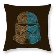 Stormtrooper Helmet - Star Wars Art - Brown Blue Throw Pillow