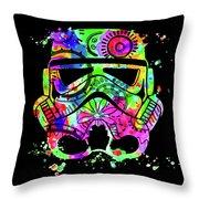 Stormtrooper Mask Rainbow 8 Throw Pillow