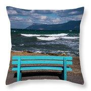 Stormy Aegean Sea Throw Pillow