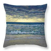Stormy Beach Throw Pillow