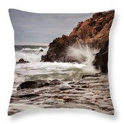 Stormy Beach Waves Throw Pillow