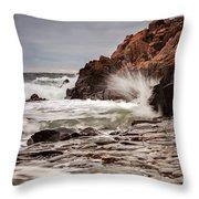 Stormy Beach Waves Throw Pillow