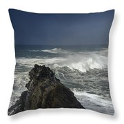 Stormy Day At Sunset Bay Throw Pillow
