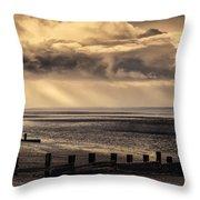 Stormy English Coastal Seascape Throw Pillow