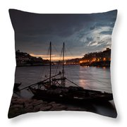 Stormy Evening Sky Above Porto And Gaia Throw Pillow