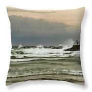 Stormy Fishing Throw Pillow